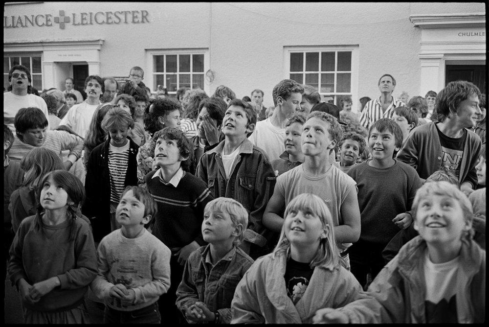 Money scramble at fair, Chulmleigh, July 1988