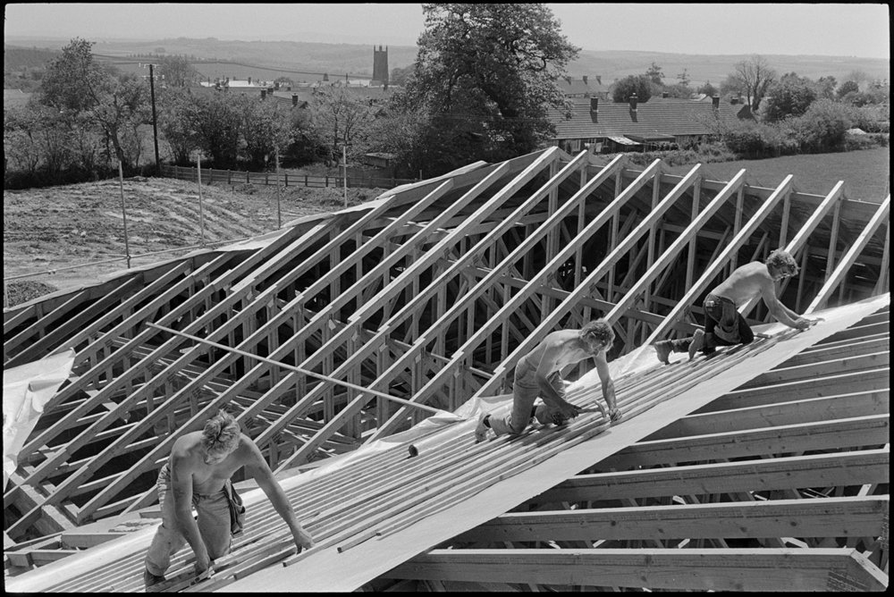 Men working on roof of new school, Chulmleigh Primary School, June 1988.