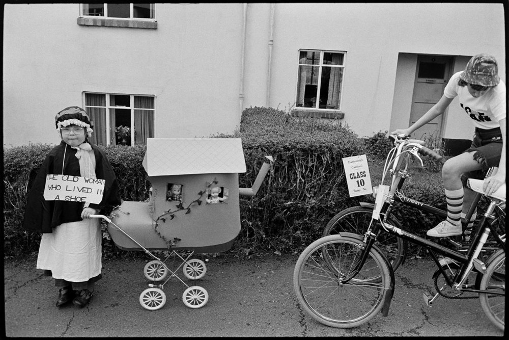 Two entrants to fancy dress competition, Hatherleigh, November 1975
