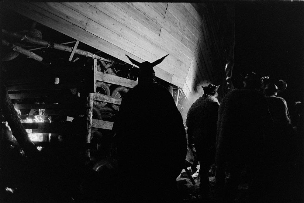 Burning tyres, Viking silhouette, Torrington Fair, 2 November 1974
