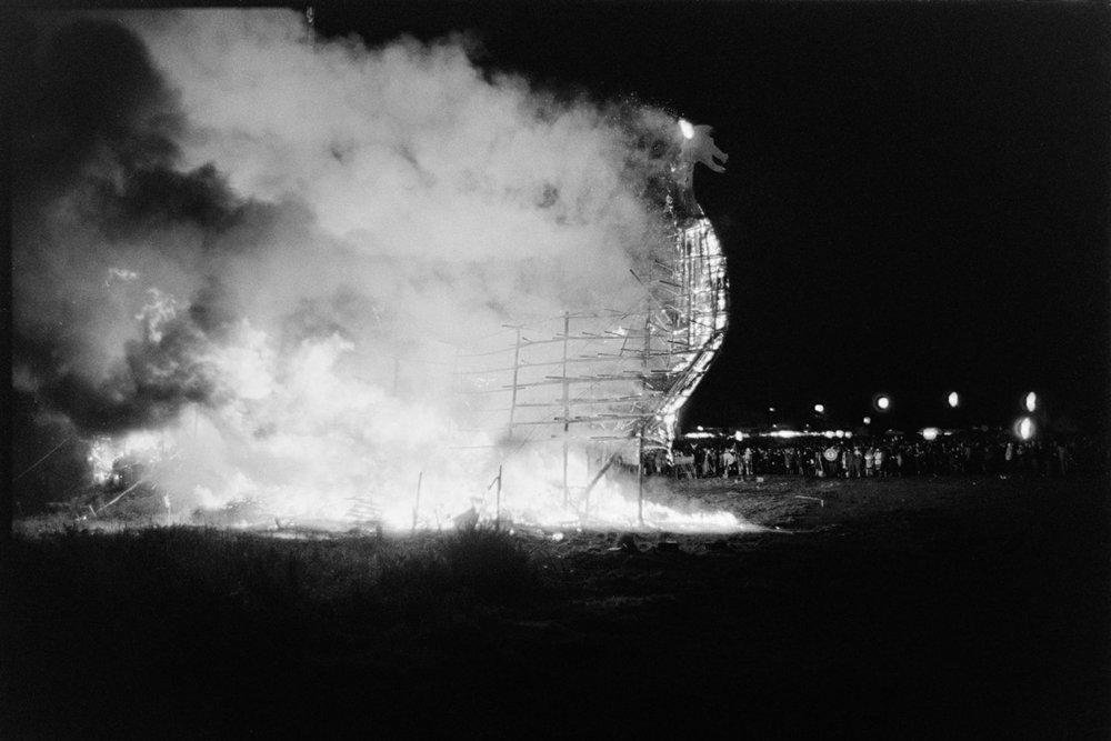 Burning skeleton of Viking ship, Torrington Fair, 2 November 1974