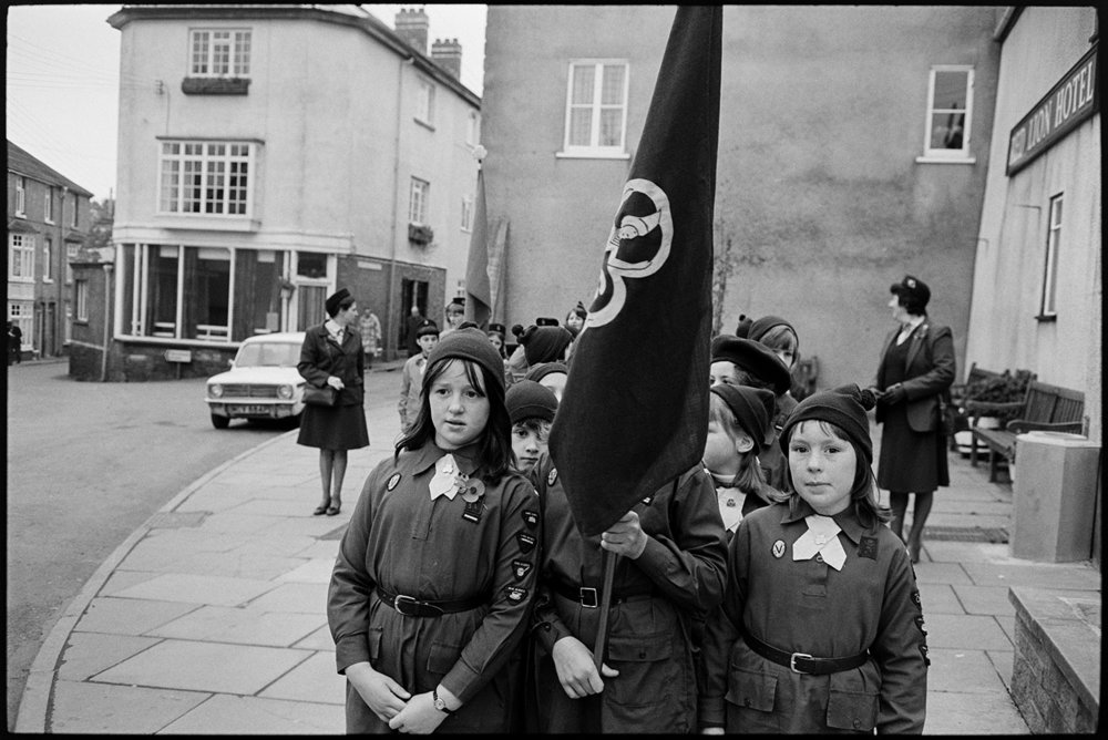 Armistice Day, inspection and parade to church, brownies.  Chulmleigh, November 1981