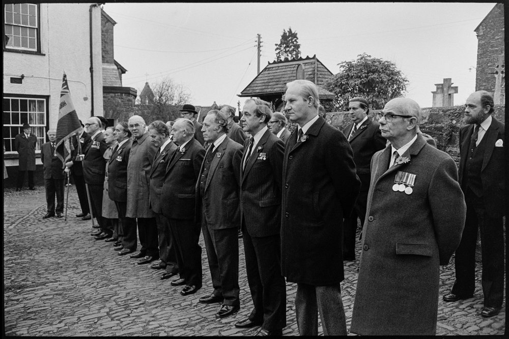 Armistice Day,inspection & parade to church,both women & men,Scouts & brownies.  Chulmleigh, November 1981