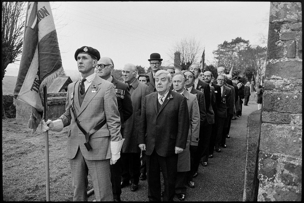 Armistice Day, parade line up outside church.  Chulmleigh, November 1981.