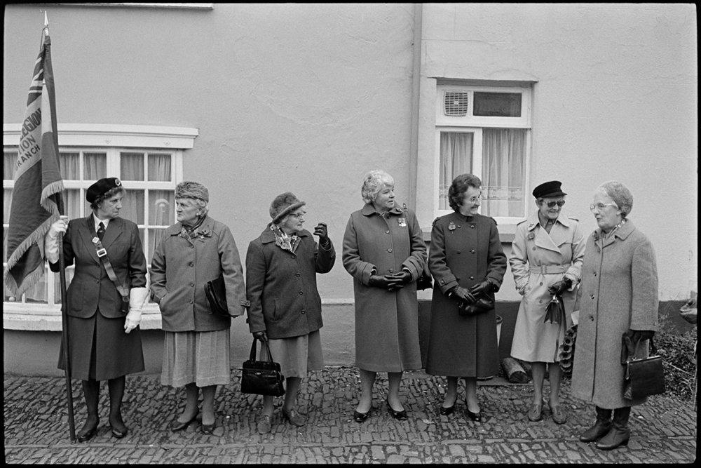Women assembling for Remembrance Sunday Parade. Chulmleigh, November 1981.