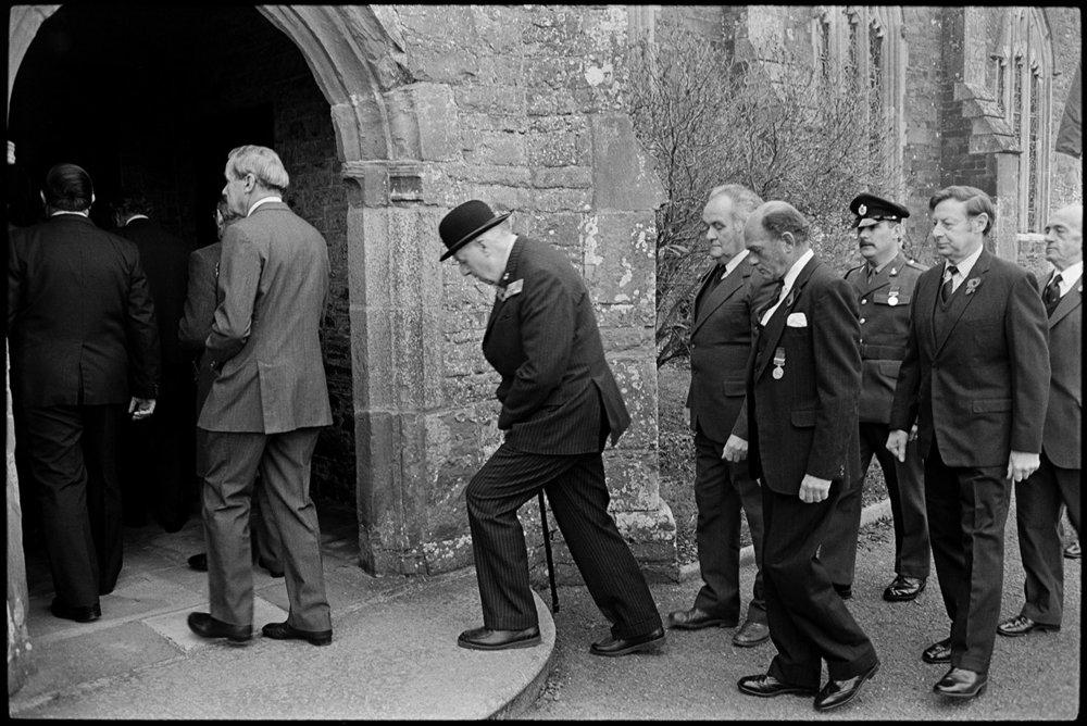 Parade at War Memorial, march to church.  Chulmleigh, November 1987.