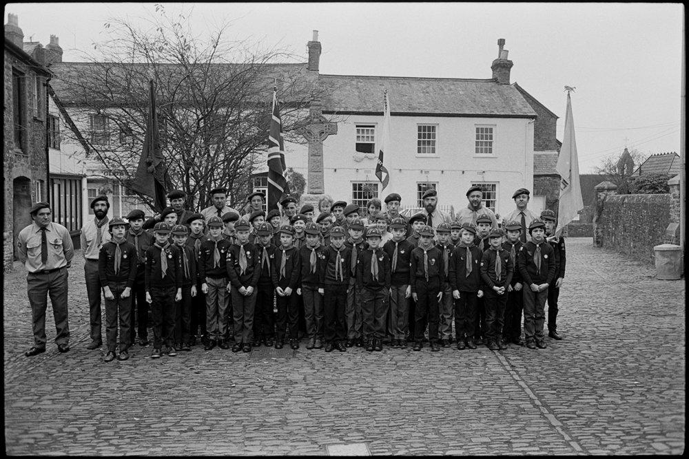 Parade at Memorial, boy scouts.  Chulmleigh, 1987.