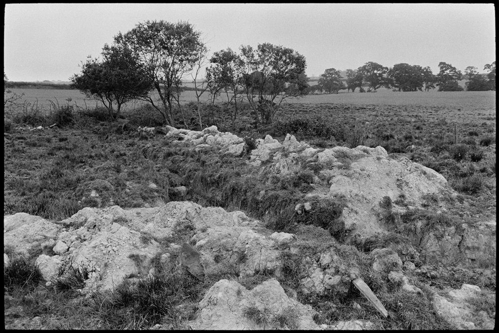 Remains of drainage work on wetland moor, Riddlecombe, Westacott, August 1983. Documentary photograph by James Ravilious for the Beaford Archive © Beaford Arts