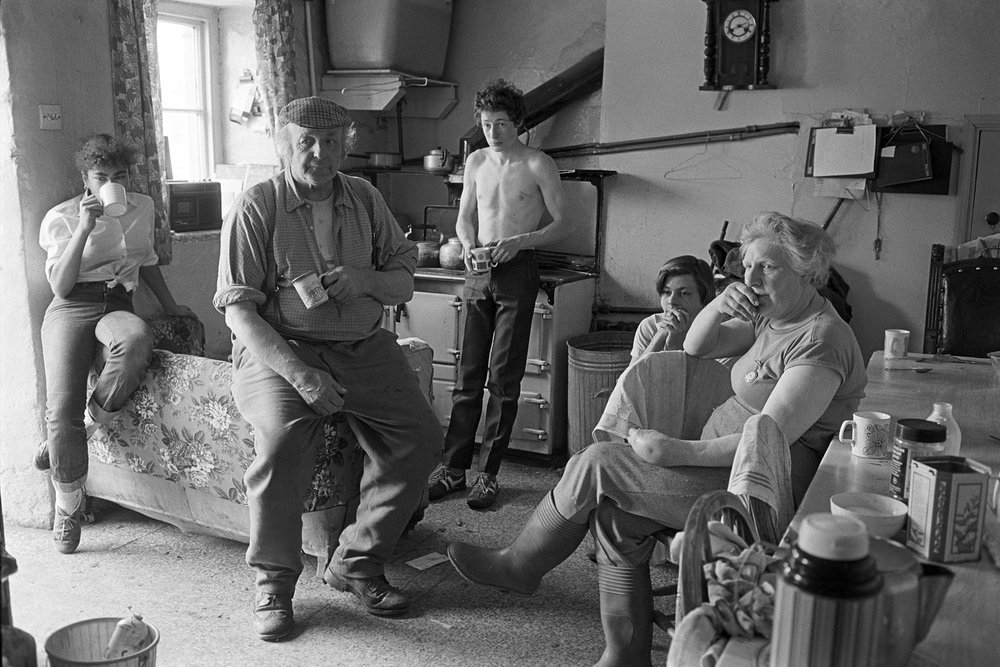 Dick French and family watching the Cup Final, Brendon Barton,Exmoor, April 1985