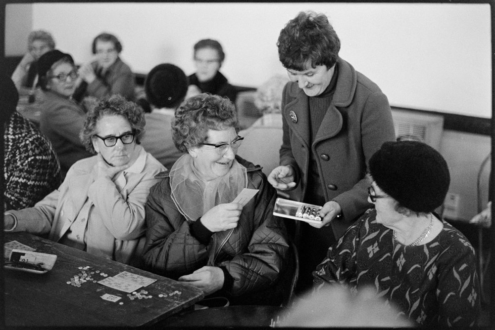 Darby & Joan Club Bingo, whist drive & tea, Appledore, December 1975. Documentary photograph by James Ravilious for the Beaford Archive.