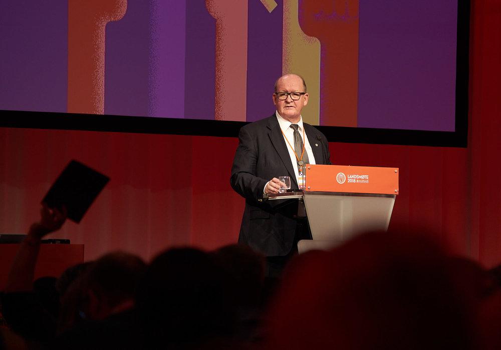 Åpnet landsmøtet: : NTL-leder John Leirvaag. Foto: Torstein Brechan