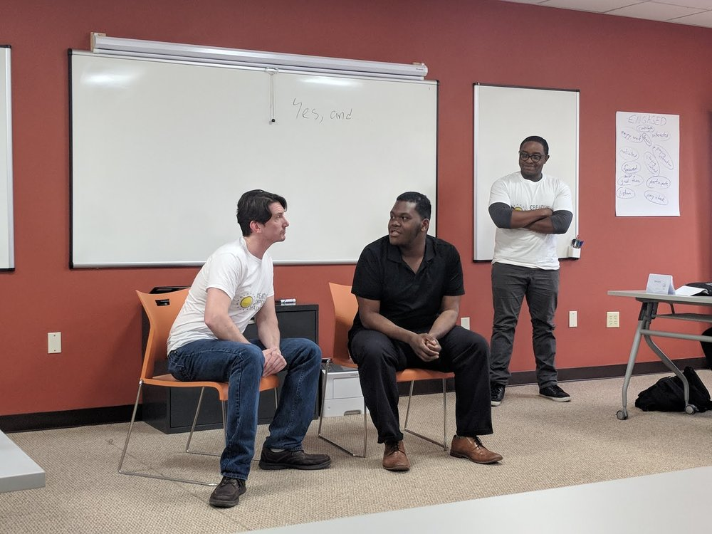 Ensemble members Bob Stineman and Eric Walker in a workshop for The West Philly Skills Initiative.