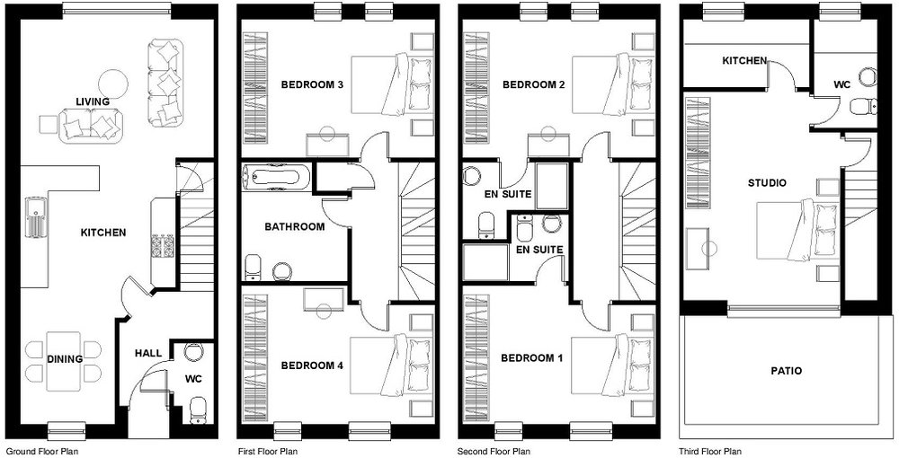 Configuration for Family Bathroom & 3 En-Suites - Plots 2 to 8