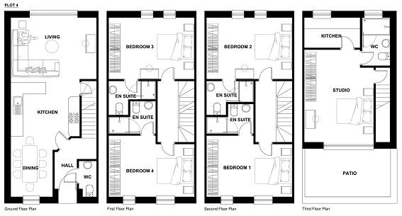 Configuration for 5 x En-suites - Plots 2 to 8