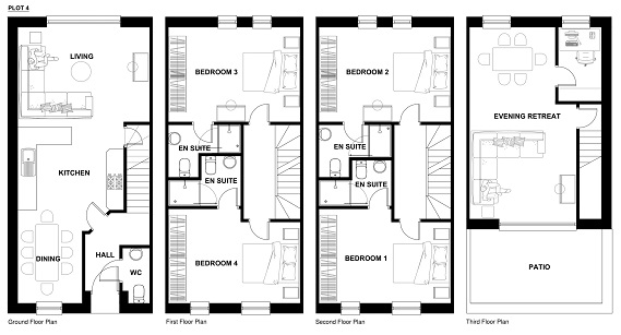 Configuration for Second Top Floor Lounge - Plots 2 to 8