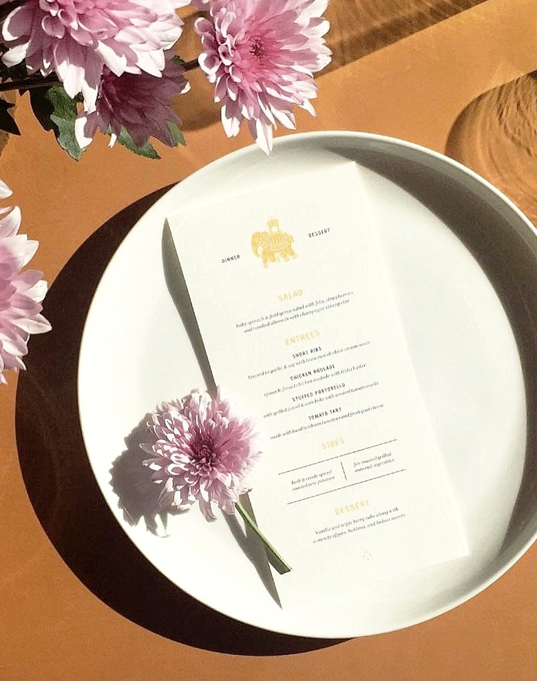 Day-of: Menus, Programs, Table Numbers, Escort Cards, Place Cards, Signage, Stationery, etc.