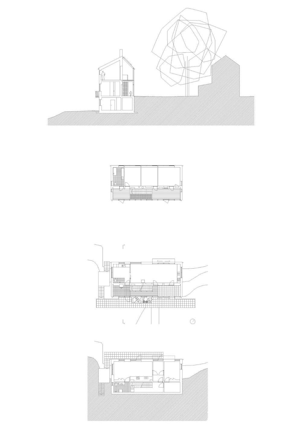snitt/ 2.etasje/ bakkeplan / under-etasje