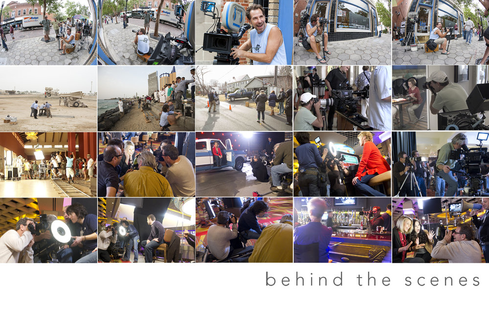 A collage of behind the scenes stills while on set of a tv commercial