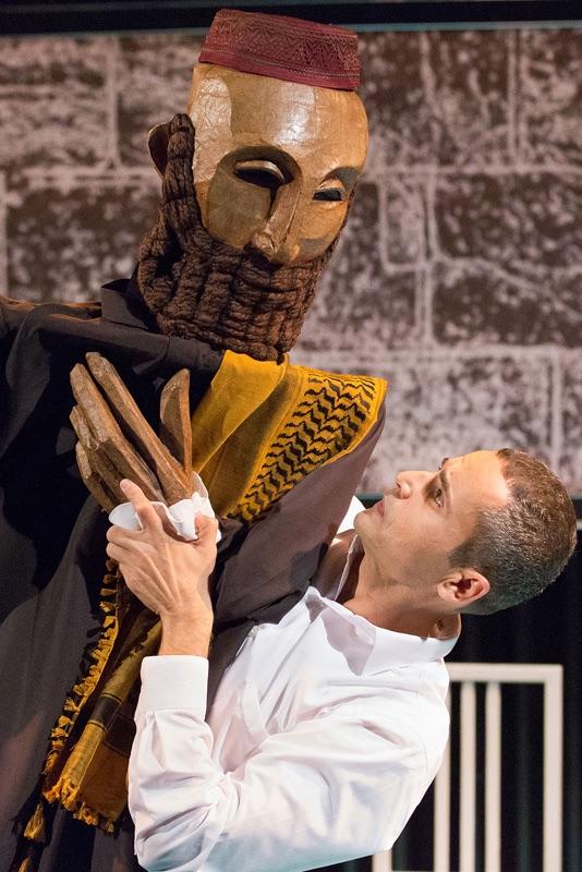 "Ibrahim Miari in ""In-Between"", onstage at Walnut Street Theatre, Independence Studio 3. Credit: Mark Garvin"