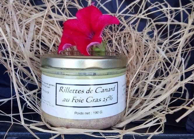 Rillettes de canard au foie gras - Recette d'un traiteur Médocain.