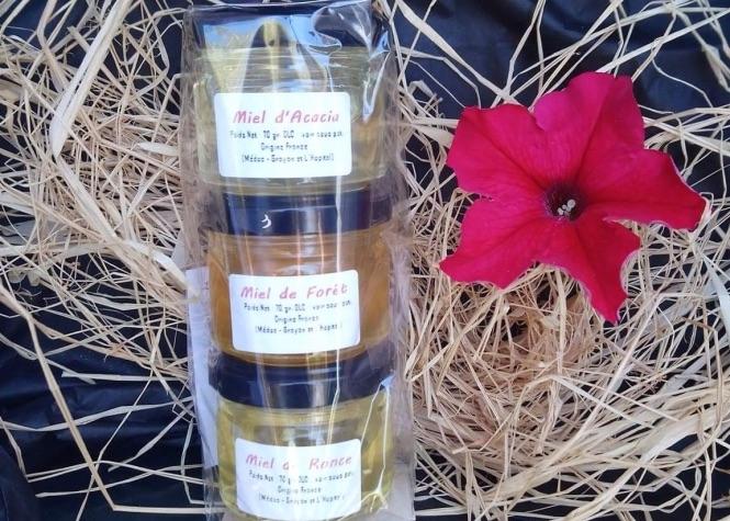 miel - Assortiment de miel acacia, ronce et forêt.