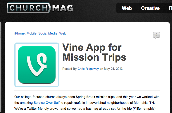 ChurchMag Post on Vine for Mission Trips