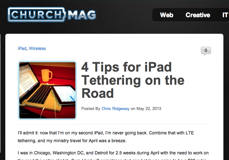 ChurchMag screenshot: 4 tips for ipad tethering on the road