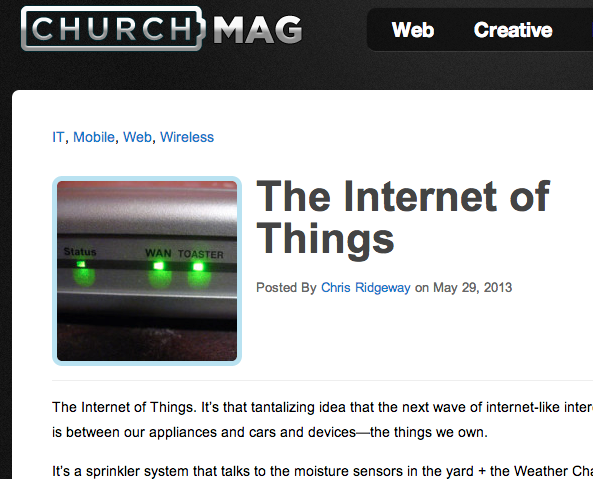 ChurchMag screenshot: The internet of things