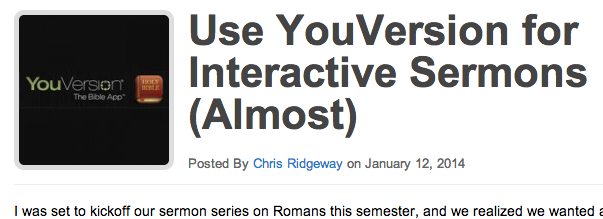 Screenshot: Use YouVersion for Interactive Sermons (Almost)