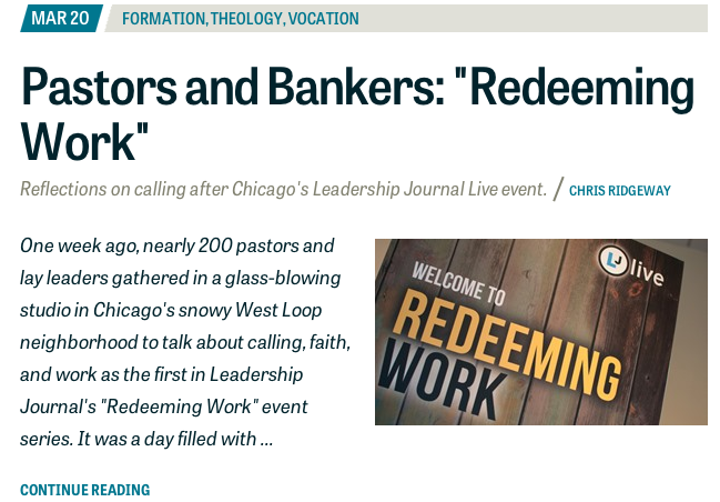 Screenshot of this post at Leadership Journal