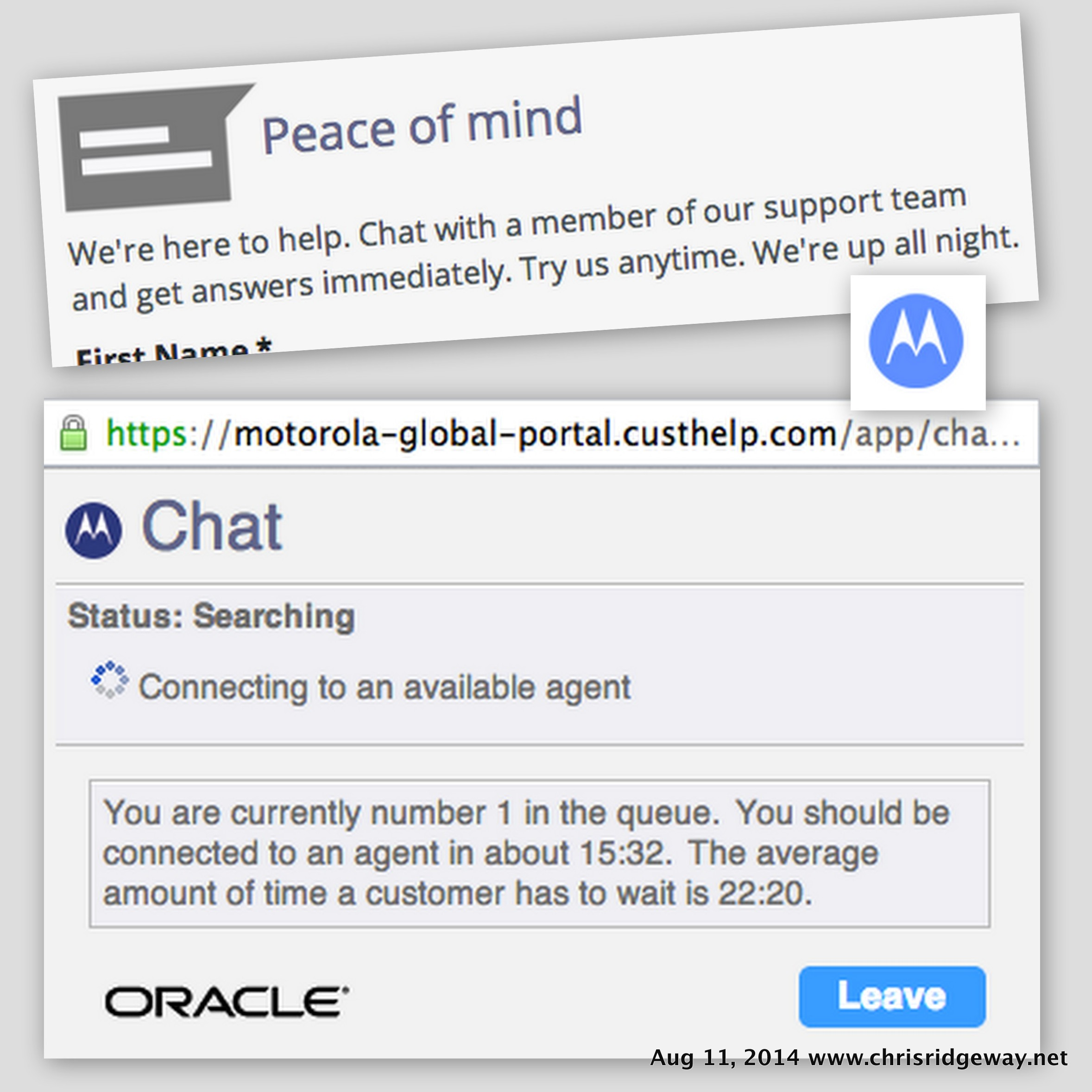 Screenshots of motorola support website chat.