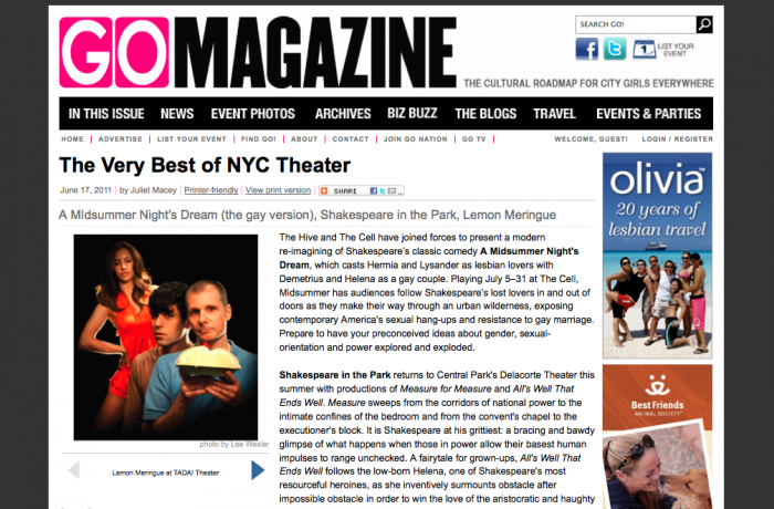 - Creator, James Koroni mentioned in GO Magazine for production of Lemon Meringue!