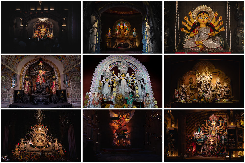 - Idols from across Kolkata. While themes play an increasingly important role in the design of idols, traditional styles still survive.