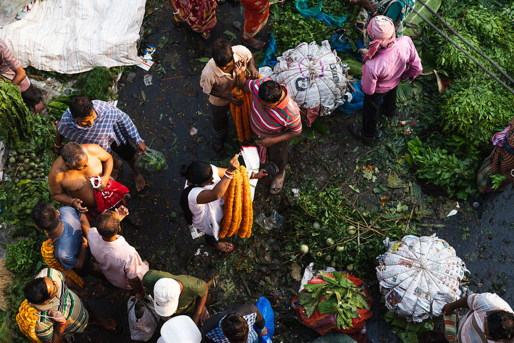 Mallik Ghat Flower Market - top view of transaction in progress