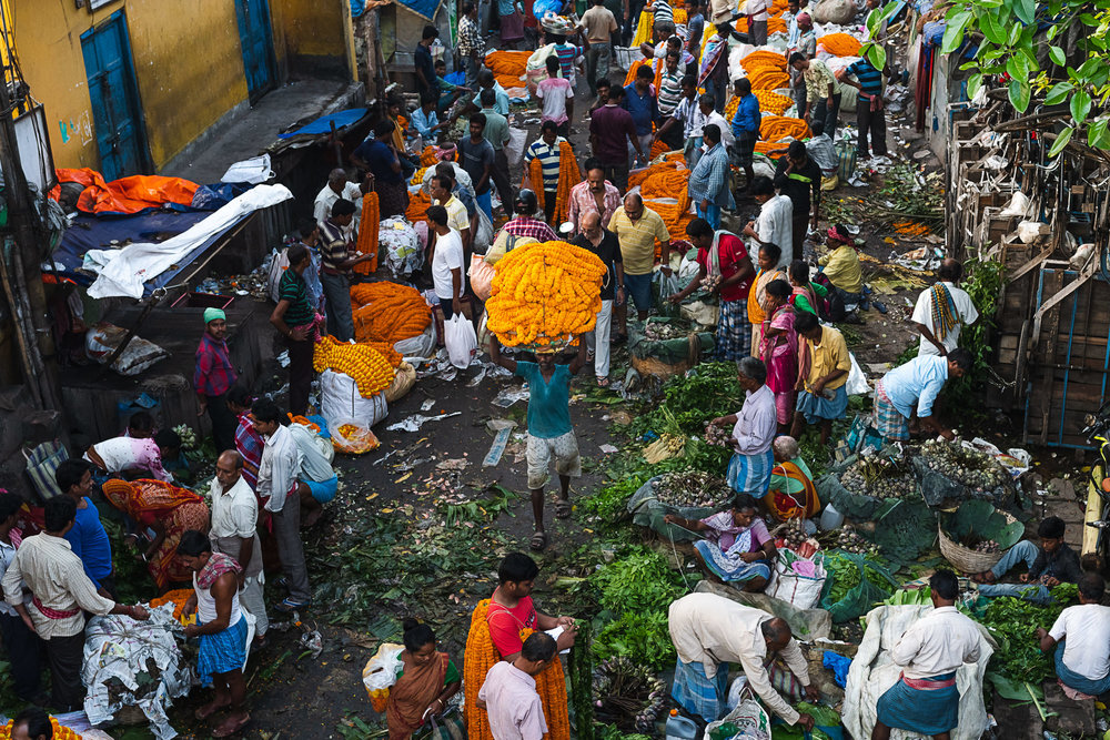 Mallik Ghat Flower Market - top view with a labourer carrying flowers on head