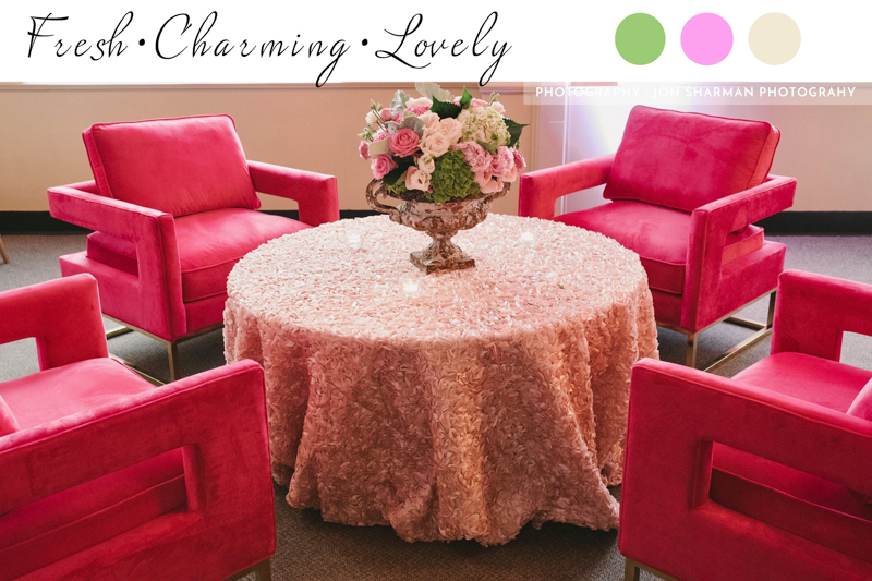 pink club chairs, velvet chairs, pink table linen, bistro table