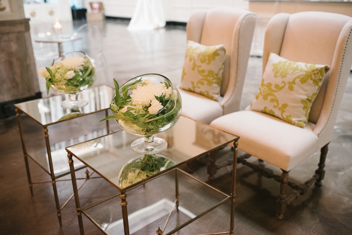 damask pillows, gold side table, wingback chairs, pillows with pattern
