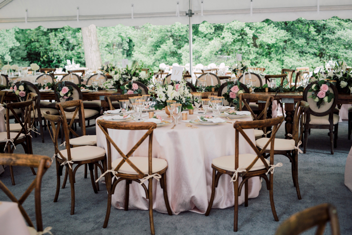 x back chairs, pink linen, dining in tent, wood chair