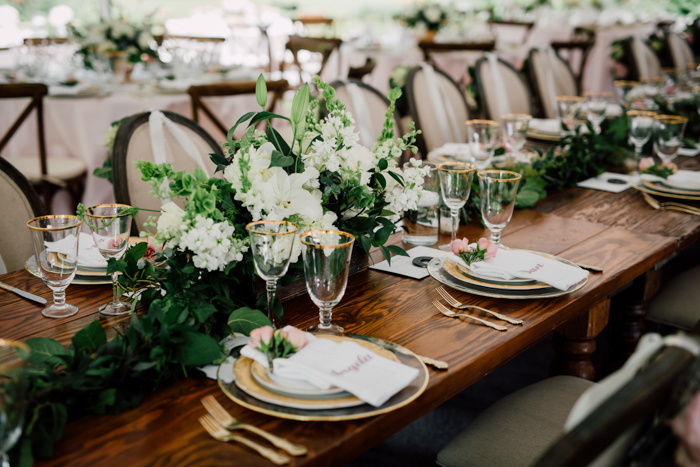 medallion chair, wood table, farm table, white florals on table