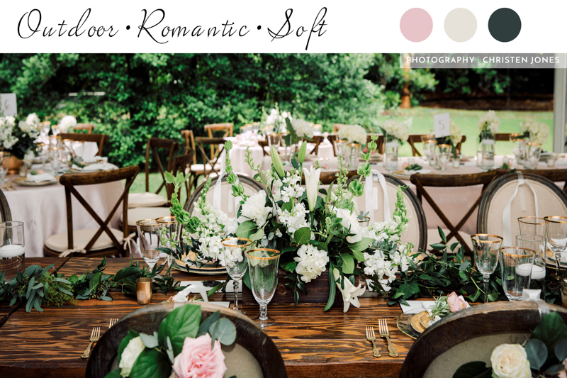 outdoor wedding, farm table, x back chairs, wood chairs