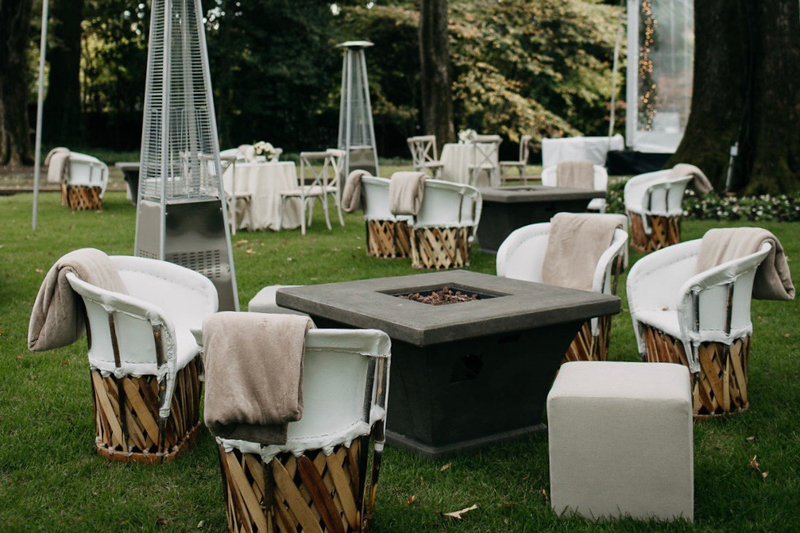 fire pit, equipale chairs, blankets, outdoor heating
