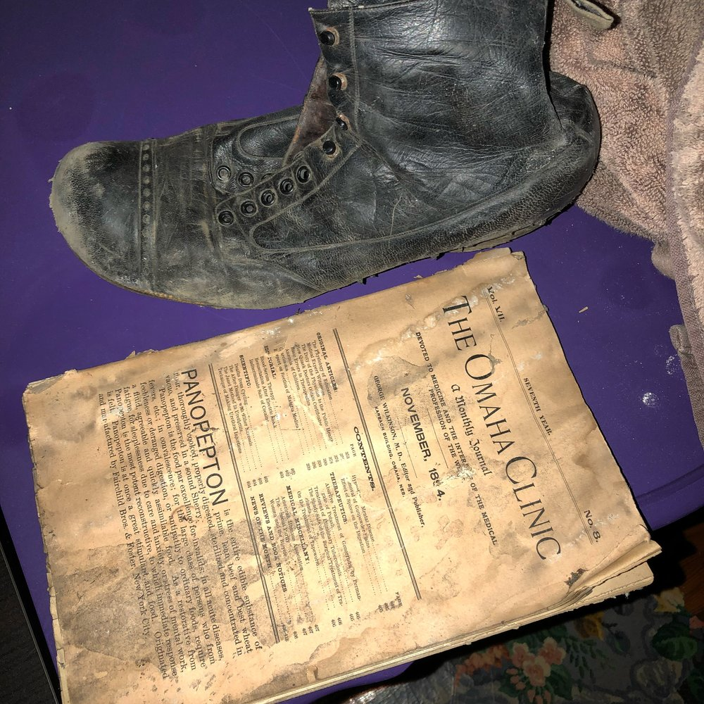 Haunted shoe and 1884 Omaha Clinic journal!