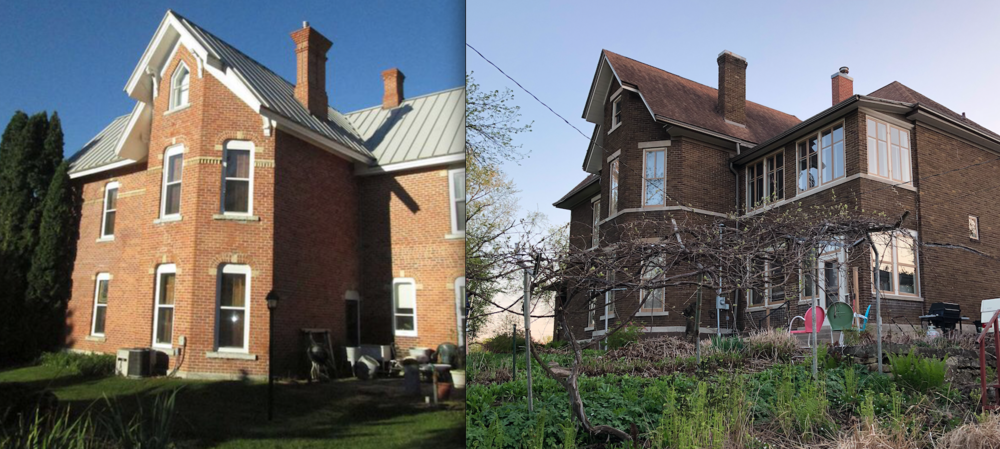 The original brick on the sister house (left) and our dark brick at Gaye Gardens (right).