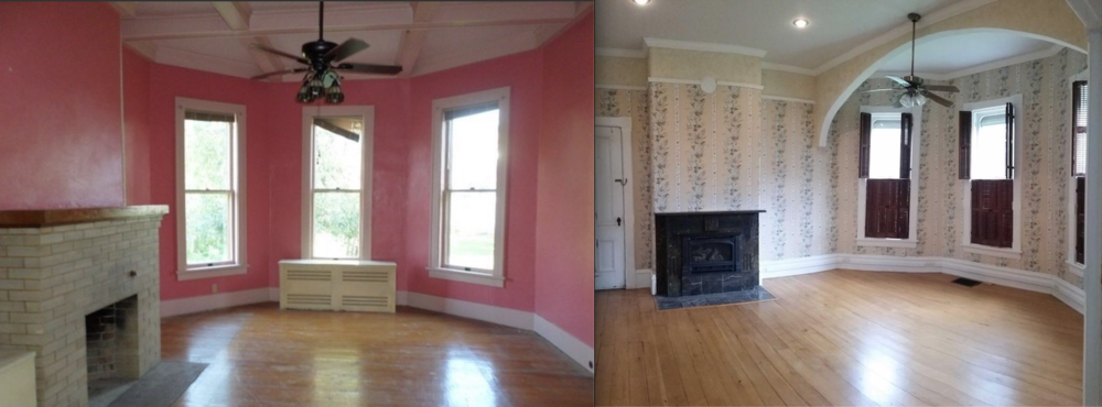Our fireplace (left) is so f'ing ugly. But our beams our better.