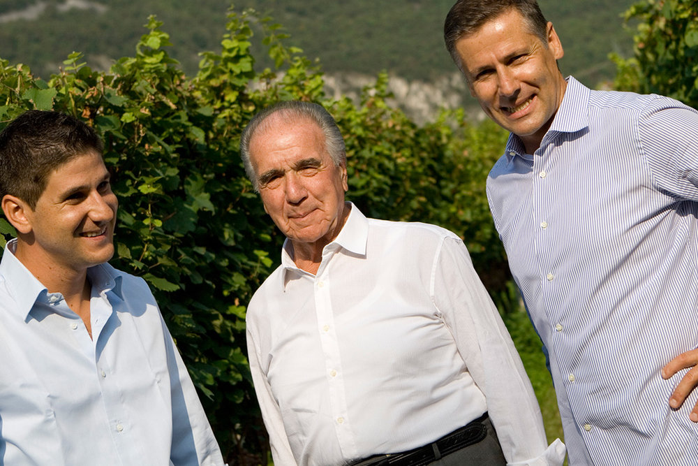 Three generations of the giovanett family at castelfeder estate winery. {Left to right: ivan giovanett, winemaker; alfons giovanett, founder; gunther giovanett, production & sales}