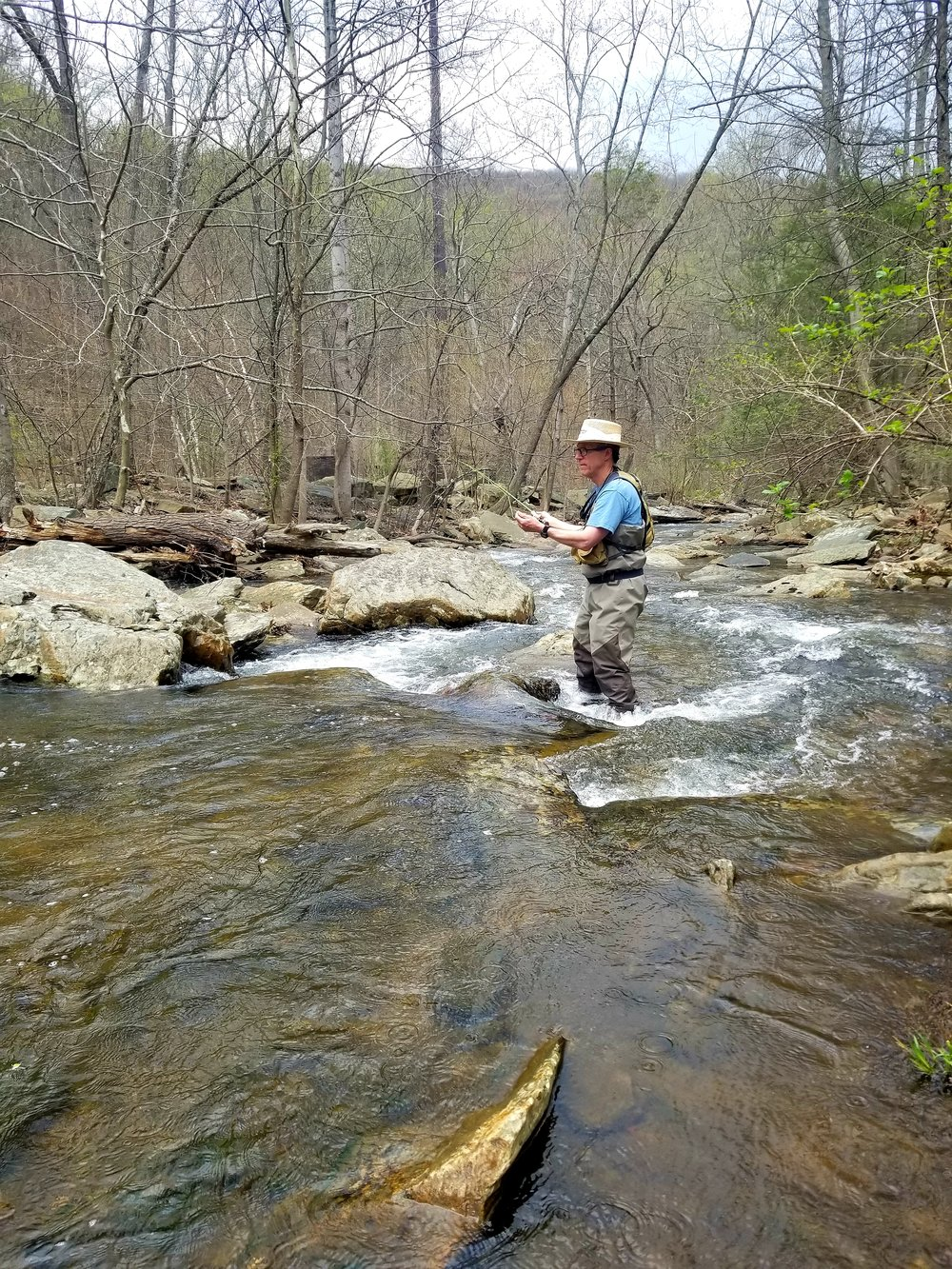 Hunting Creek is a high gradient mountain freestone stream. The lower section is considered a tail water and flows out of Hunting Creek Lake. The section above the lake has a native Brook Trout population. Hunting Creek typically fishes best in spring and fall when the water levels are higher.