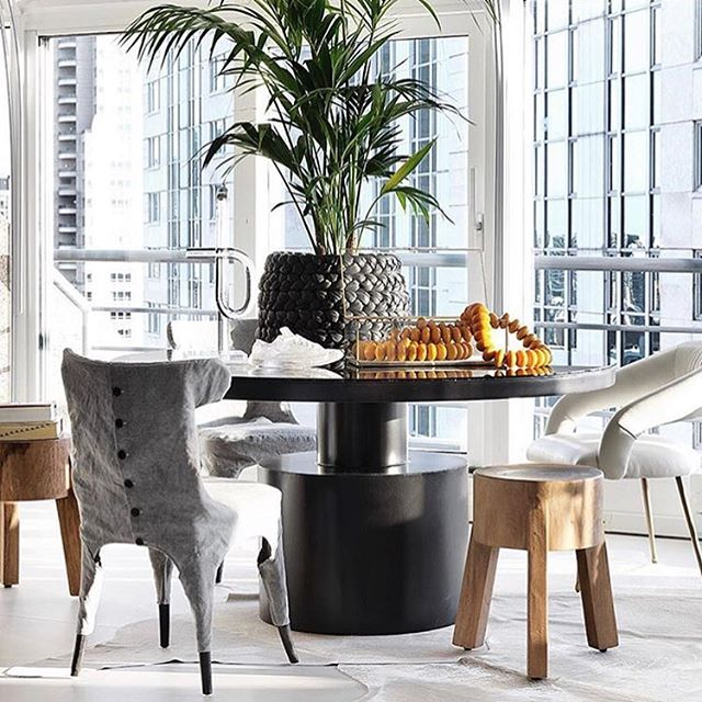 This aesthetic is just our type! Find select @noirfurniture pieces in store at Black Bough today. Credit: @noirfurniture @cynthialynnkim @projectinteriors