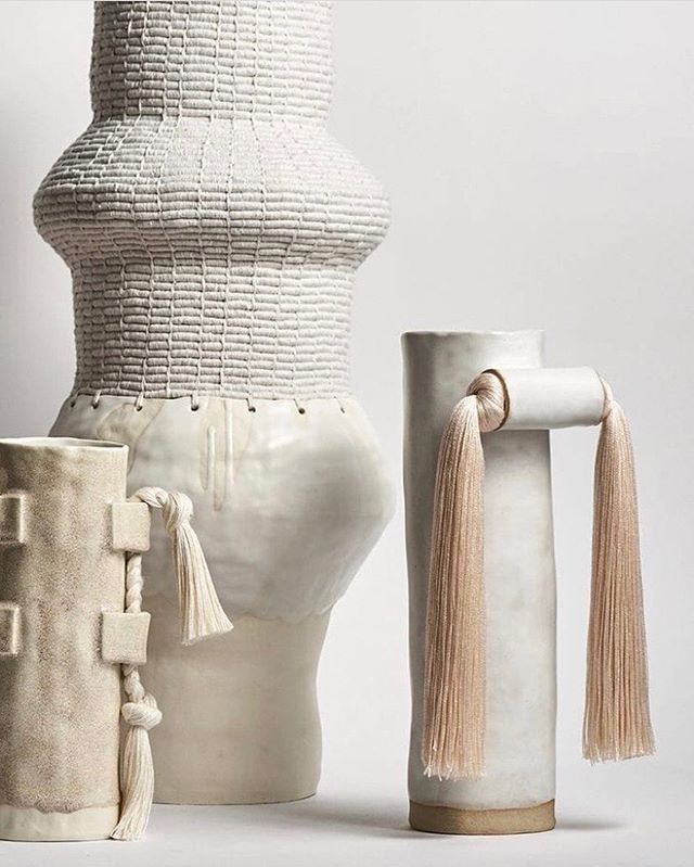Ceramics + fibers create the perfect blend for a unique accent vase. We're loving these new pieces from @karengtinney. Find them at Black Bough Laguna today!