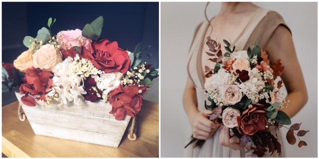 Cajas con  flores preservadas  desde 25€