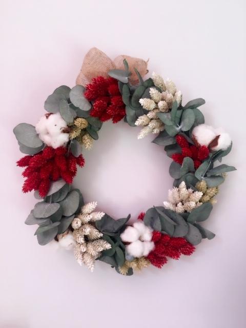 corona flores secas navidad
